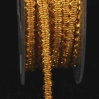 "Metallic Gold Looped Braid Woven Craft Ribbon .25"" x 44 Yards"