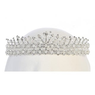 Angels Garment Girls Silver Tone Rhinestone Adorned Tiara Headpiece