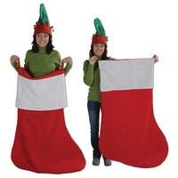 Red and White Christmas Holiday Double-Hooped Jumbo Stocking 4'