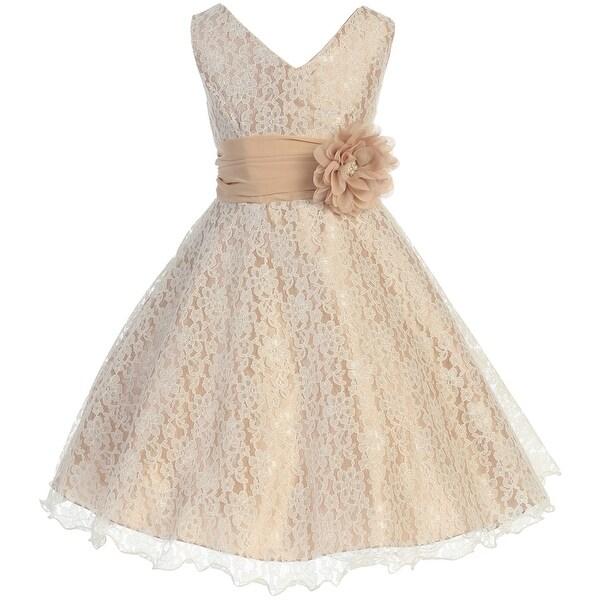 Flower Girl Dress V-Neck Overlay Chiffon Belt & Flower Taupe JK 3620