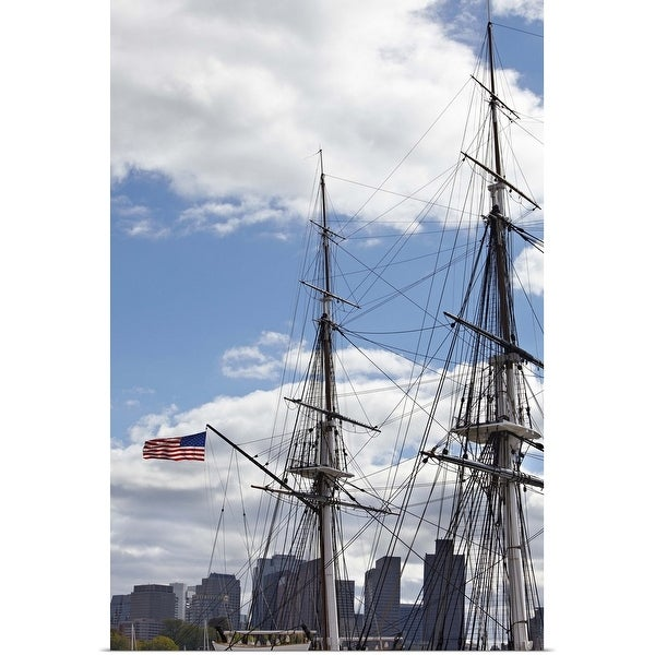 """Rigging of the SS Constitution Ship, Boston Harbor, Massachusetts"" Poster Print"