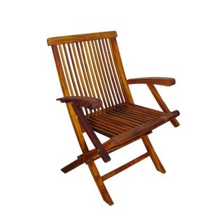 Pack of 2 Nyatoh Hardwood Folding Arm Chairs