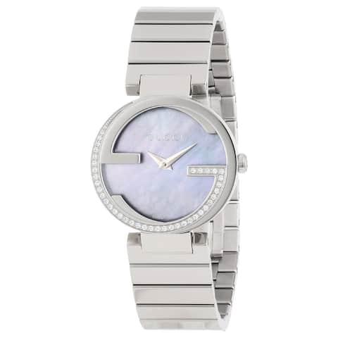 Gucci Women's YA133509 'Interlocking-G' Diamond Stainless Steel Watch - Silver