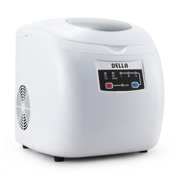 Della Easy-Touch Ice Maker Buttons Counter top Portable Machine 26lb Per Day 3 Selectable Cube Sizes -White