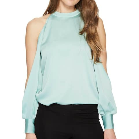 1.STATE Mint Blue Womens Size Small S Slit-Sleeve High-Neck Blouse