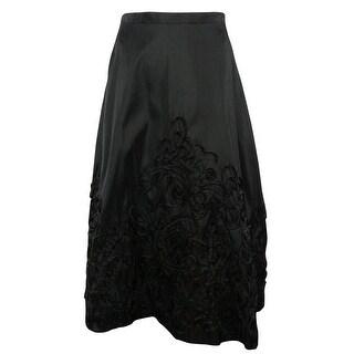 Onyx Nite Women's Soutache Taffeta A-Line Midi Skirt