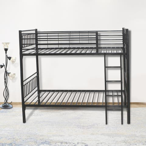 round metal tube black twin bunk beds with build-in-ladder for easy access to upper bunk