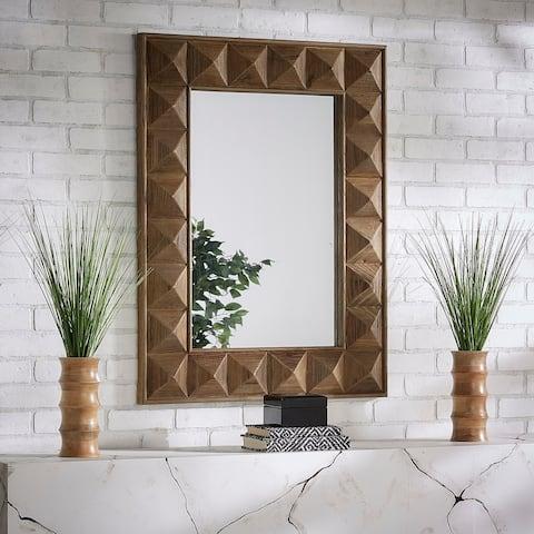 Finn Rectangular Reclaimed Wood Geometric Faceted Wall Mirror by iNSPIRE Q Artisan - Wall Mirror