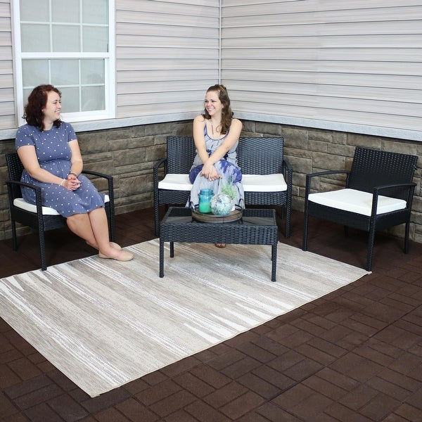 Sunnydaze Castlebar 4-Piece Black Rattan Outdoor Patio Set with Cushions