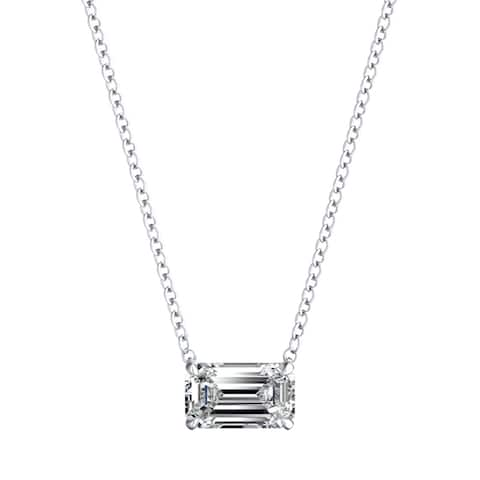 Lab Grown 1/2ctw Emerald cut Diamond Necklace by Ethical Sparkle - White