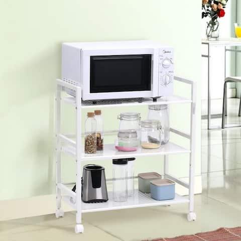 3-Tier Multi-function Rack Shelves Widen Rolling Kitchen Bathroom Storage Utility Cart