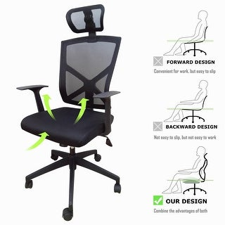 High Back With Headrest Office Mesh Chair Tilt Arms Lumber Support Large Base Adjustable Swivel Task Executive Black