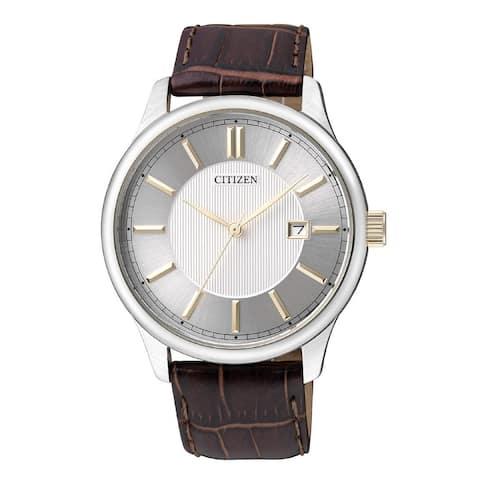 Citizen Men's BI1054-04A 'Dress' Brown Leather Watch - Silver