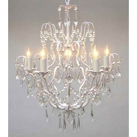 Swarovski Crystal Trimmed White Wrought Iron Crystal Chandelier Lighting