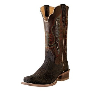 Outlaw Western Boot Men Elephant Narrow Square Leather Chocolate 60008