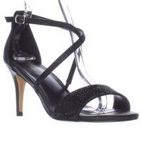 TS35 Dulcep Cross Strap Sparkle Evening Sandals, Black