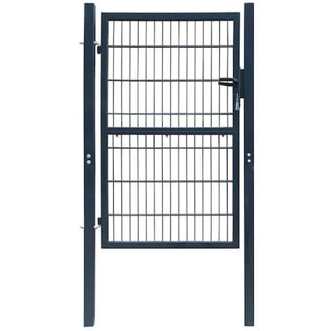 "vidaXL 2D Fence Gate (Single) Anthracite Gray 41.7"" x 90.6"""