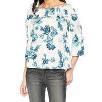 William Rast White Blue Womens Size XL Lexie Off Shoulder Blouse
