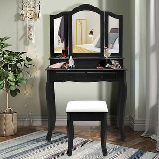 Costway Vanity Makeup Dressing Table Stool 4 Jewelry Wood Desk Black