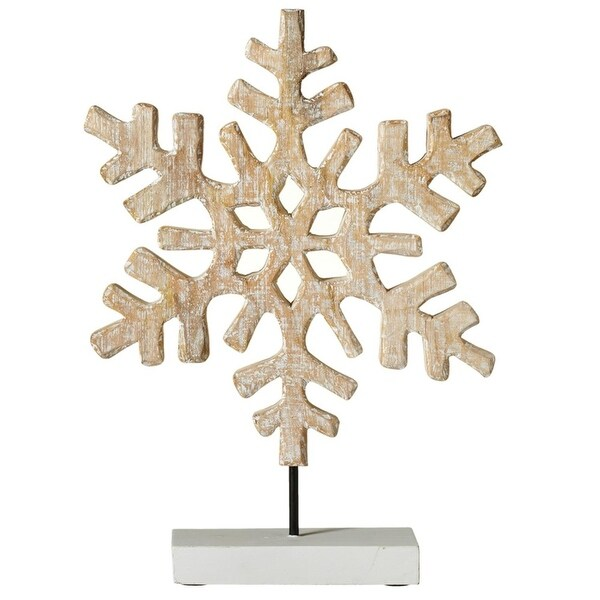 "19"" Brown Whitewash Snowflake on Mango Wood Stand Christmas decoration"