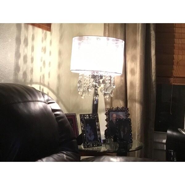 Shop Silver Mist 3 Light Chrome Crystal Table Lamp with Shade ...