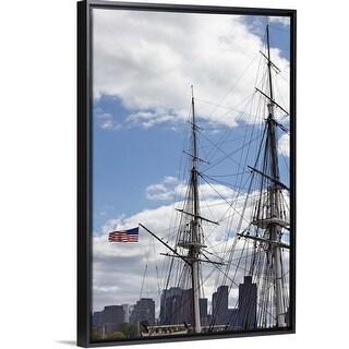 """""""Rigging of the SS Constitution Ship, Boston Harbor, Massachusetts"""" Black Float Frame Canvas Art"""