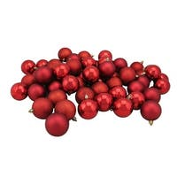 "60ct Red Hot Shatterproof 4-Finish Christmas Ball Ornaments 2.5"" (60mm)"