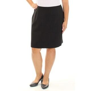 Womens Black Knee Length Pencil Wear To Work Skirt Petites Size 16