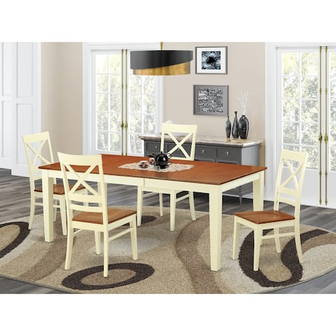 Quincy Rubberwood 5-piece Dining Table Set - Dining Table and 4 Dining Room Chairs
