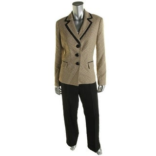 Le Suit Womens Tweed Blazer Crepe Pant Suit - 6