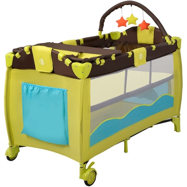 New Green Baby Crib Playpen Playard Pack Travel Infant Bassinet Bed Foldable