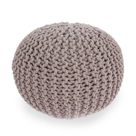 Moro Handcrafted Modern Cotton Pouf by Christopher Knight Home