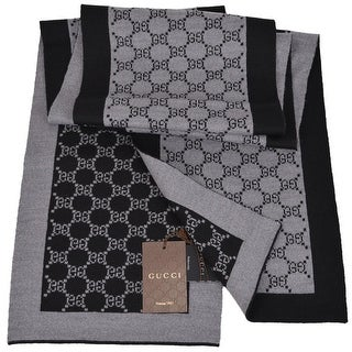 "Gucci 421068 Black and Grey Wool GG Guccissima Wool Scarf Muffler - 70"" x 9"""