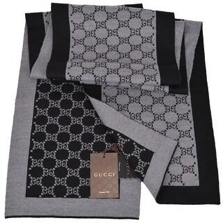 "Gucci 421068 Black and Grey Wool GG Guccissima Wool Scarf Muffler - 70"" x 9"""