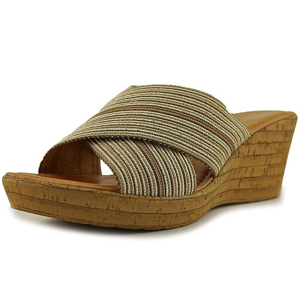 Italian Shoe Makers Everly Women Open Toe Canvas Multi Color Wedge Sandal