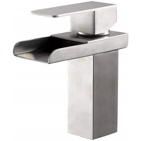Waterfall Bathroom Sink Faucet Single Handle Brushed Nickel