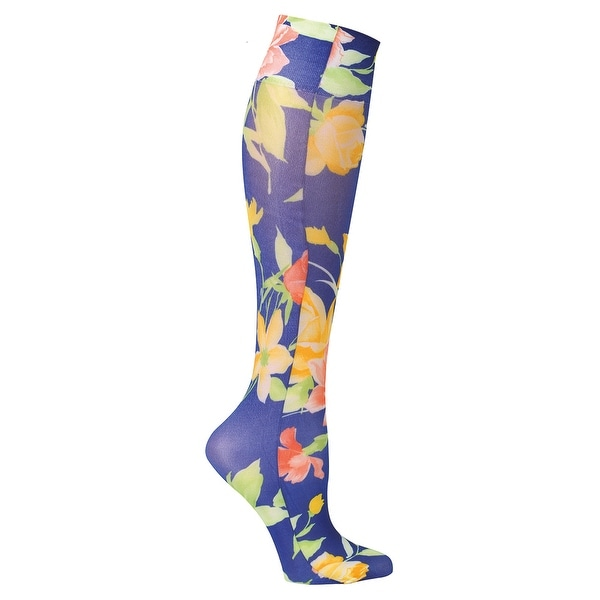 Women's Wide Calf Printed Moderate Compression Knee Highs - Navy Floral