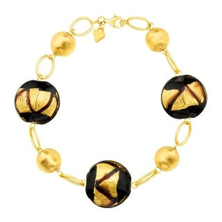 Murano Glass Bead Bracelet in 14K Gold - brown