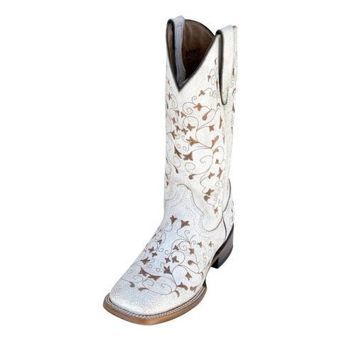 Ferrini Western Boots Women Honeysuckle Block S Toe White