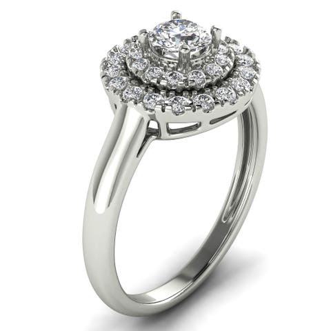 3/4 CT Double Halo Round Cut Solitaire Engagement Diamond Ring in 14KT