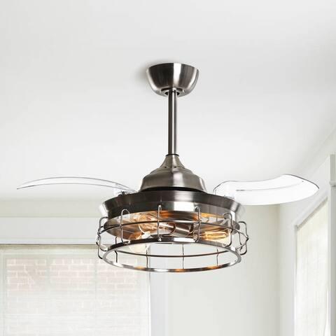 Industrial 36-in Satin Nickel Foldable 3-Blade Ceiling Fan