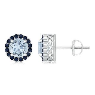 Angara Round Aquamarine and Sapphire Halo Stud Earrings
