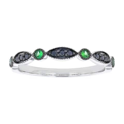 10k White Gold Green Tsavorite and Black Diamonds Vintage Art Deco Band Ring by Beverly Hills Charm