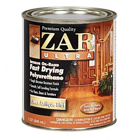 Zar 33912 Ultra Fast Drying Polyurethane, Antique Flat, Quart