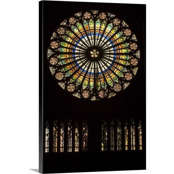 """""""Rose window at Notre Dame Cathedral, Strasbourg, Alsace, France"""" Canvas Wall Art"""