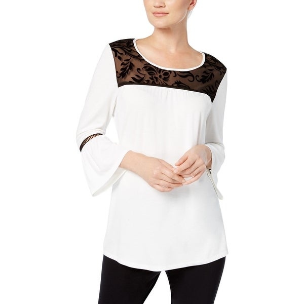NY Collection Womens Tunic Top Bell Sleeves Mixed Media