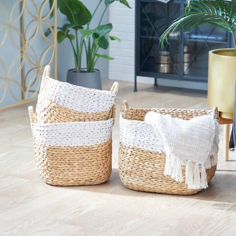 Brown Water Hycinthia Storage Basket (Set of 3) - 19 x 17 x 16