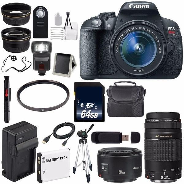 Canon EOS Rebel T5i 18 MP CMOS Digital SLR Camera w/EF-S 18-55mm (International Model) + Canon EF 50mm Lens Bundle