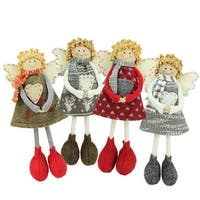 "Set of 4 Holiday Angel Sisters Standing Christmas Decorations 9"" - multi"