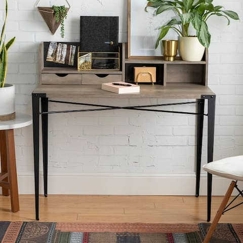Carbon Loft 42-inch Writing Desk with Small Hutch